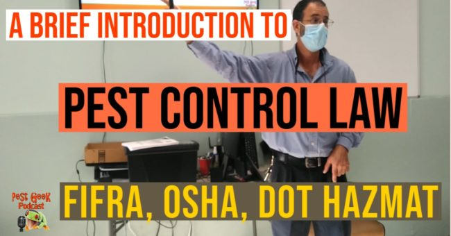 FREE Pest Control Training Course Basic Introduction To Pest Control Law FIFRA, OSHA, DOT, HAZMAT.